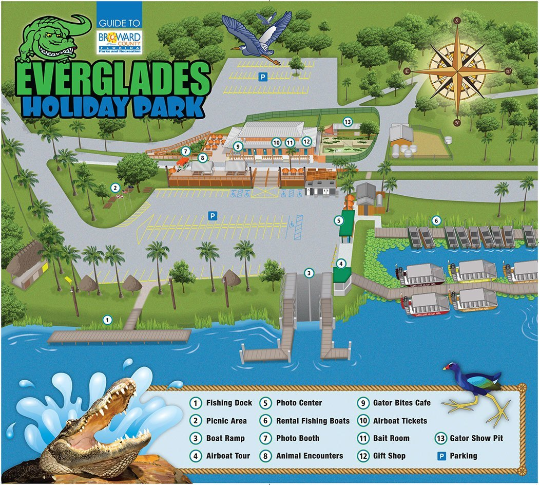 Florida Everglades Map.Everglades Holiday Park Map Of Park